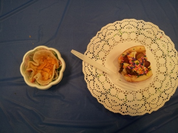 Team Nemo - The snack on the left is a 'deconstructed quesadilla' aka melted cheese in a tortilla with crushed cheeze-its. Needless to say, it was delicious!