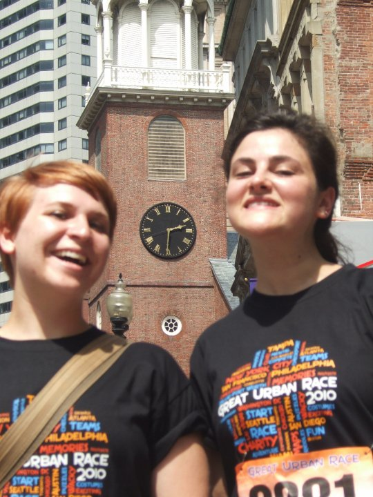 My friend Amy and I a few years ago at Boston's Great Urban Race, a scavenger hunt throughout the city.