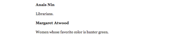 I do love Margaret Atwood and the color green. This Lauren Leto person really knows me.