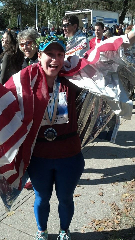 I also have a space blanket and a sweet medal, too! This perhaps the best and worst picture of me and I love it.