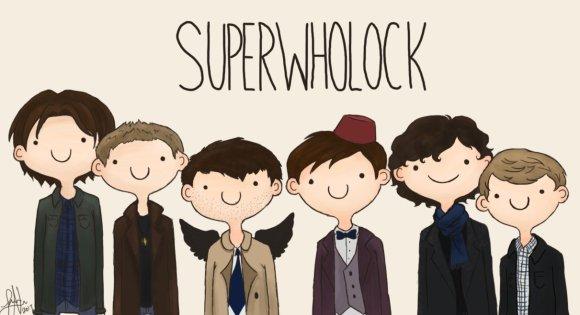 Awww, Sam, Dean, Cas, the Doctor, Sherlock and John are all friends!