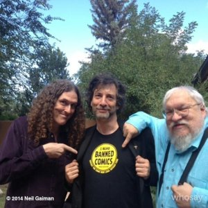 Neil Gaiman, Weird Al, and George R. R. Martin representing banned comics readers. So amazing!