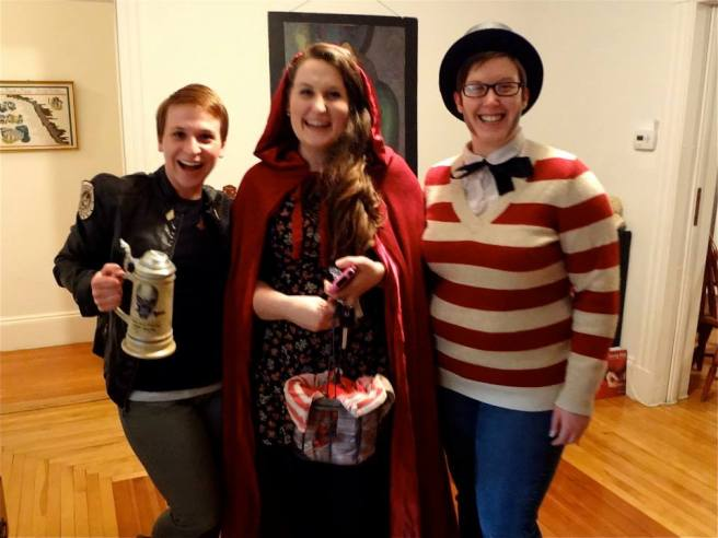 I already have a costume for Comic-Con! A variant Starbuck from BSG who actually looks exactly like me! Brilliant! (Also pictured, Little Red Riding Hood and Where's Ralph Waldo Emerson?)
