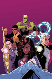 While still being produced by white guys, I loved how this series has a Latina (lesbian?) leader (Miss America Chavez), a gay couple (Wiccan and Hulkling), a bi African American genius (Prodigy), and features teens figuring out their sexuality and way in the world!