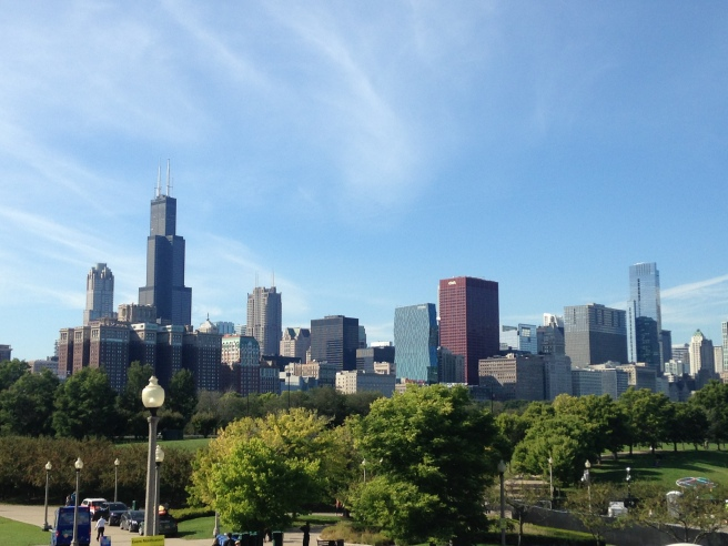 Chicago skyline from the Shedd front steps!