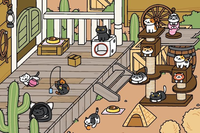 A still from The Verge's Neko Atsume game.